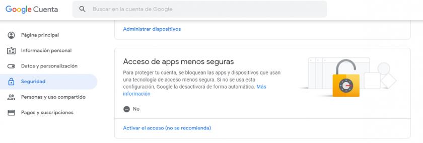 aplicaciones poco seguras  en el perfil de usuario