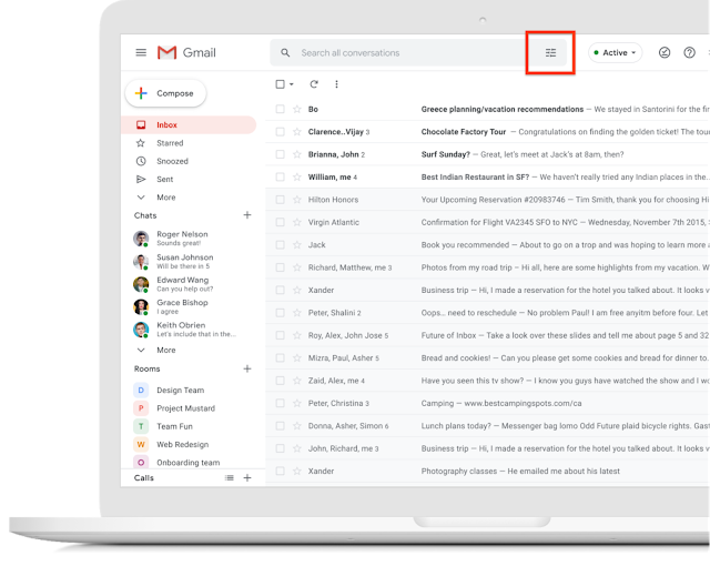 Actualización visual para la barra de búsqueda de Gmail